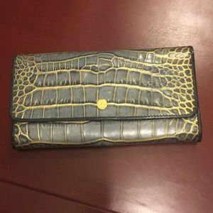 Abas Wallet, Crocodile Embossed Leather, NWT